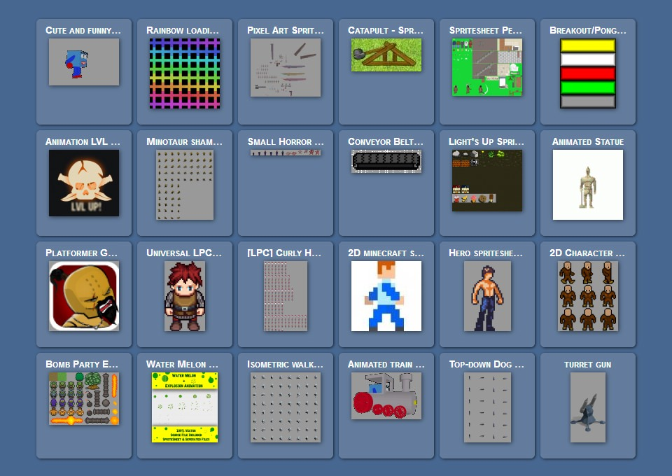 Screenshot sajta opengameart.org