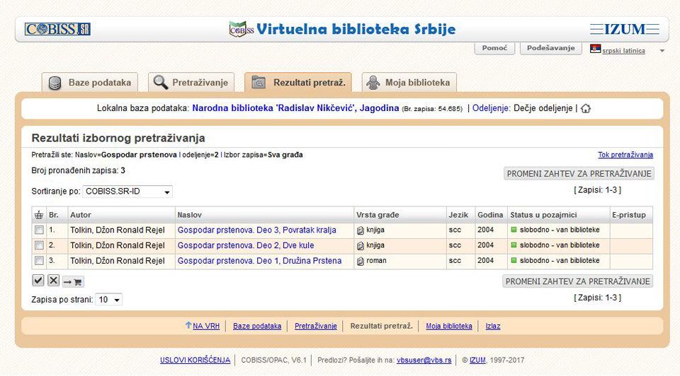 Rezultati pretrage baze VBS.