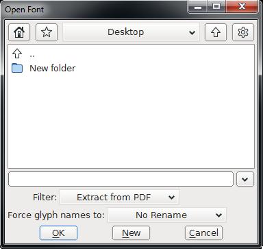 FontForge - početni ekran
