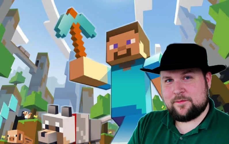 Montaža sastavljena od slike iz igre Minecraft, i fotografije autora igre, Markusa Perssona.