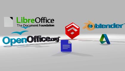 3D ilustracija logoa besplatnih programa