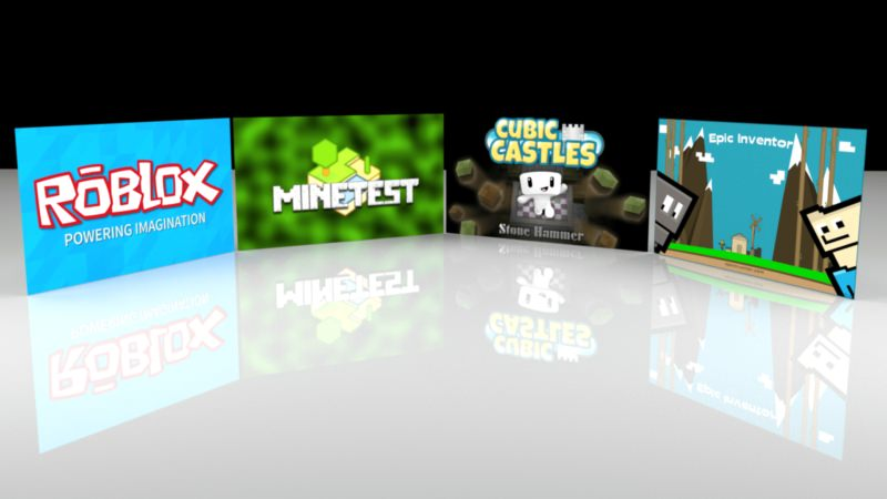 Roblox, Minetest, Cubic Castles, Epic Inventor