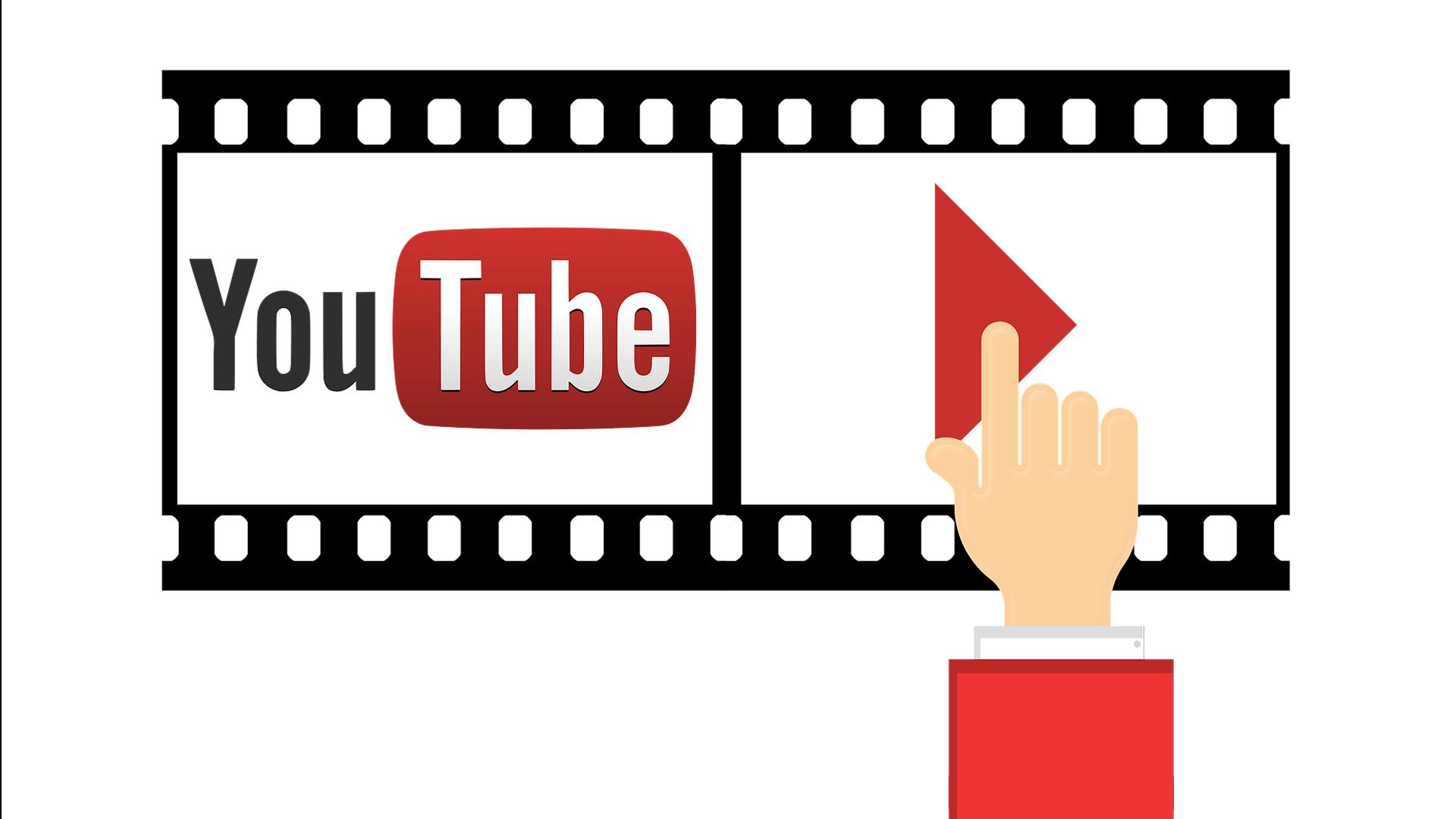 Ilustrovana ruka klikće na Play dugme na filmskoj traci