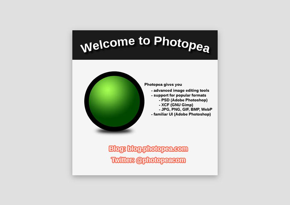 Početni ekran web aplikacije Photopea