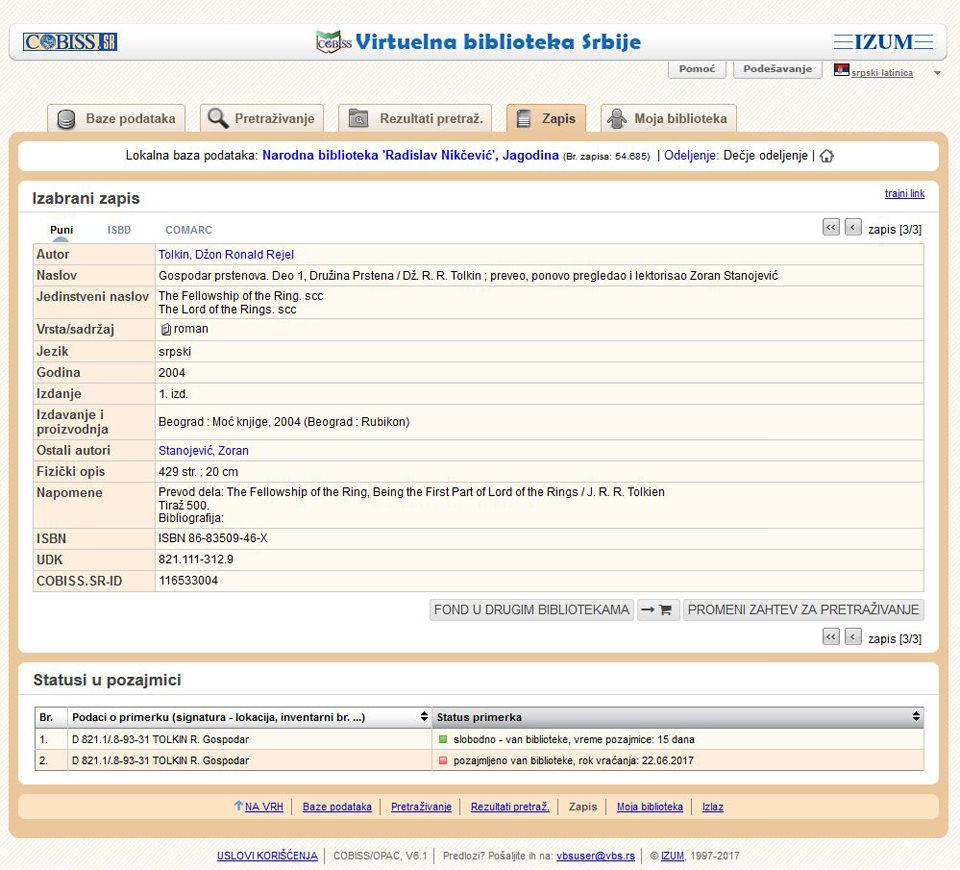 Status knjige - slobodna za pozajmicu, izdata, dostupna samo u čitaonici.