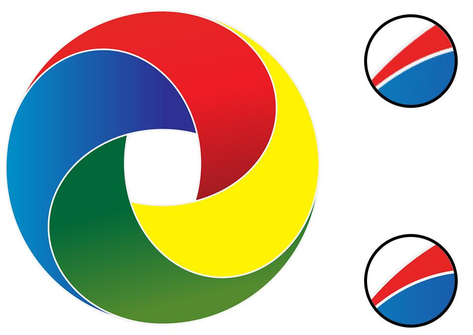 Ilustracija razlike između rasterske i vektorske grafike