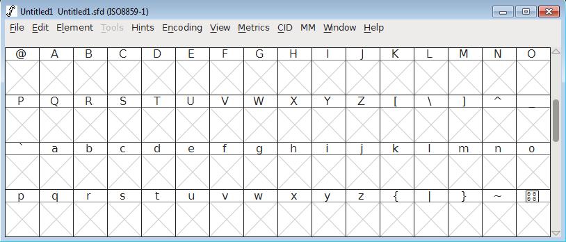 FontForge - postavljanje karaktera