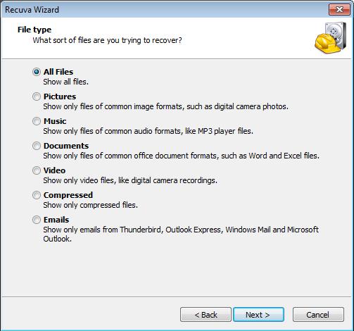 Recuva - izbor fajlova za vraćanje